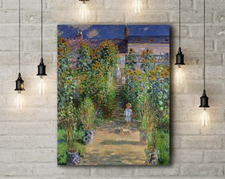 Claude Monet: The Artist's Garden at Vethueil. Fine Art Canvas.